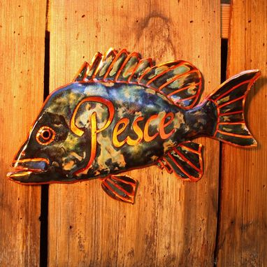 Custom Made Copper Fish-Inspired Name Plaque