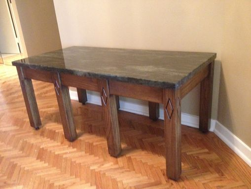 Custom Made Handmade Wood And Stone Entry Bench