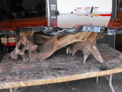 Custom Made Live Edge Redwood Fiddleback Burl Coffee Table