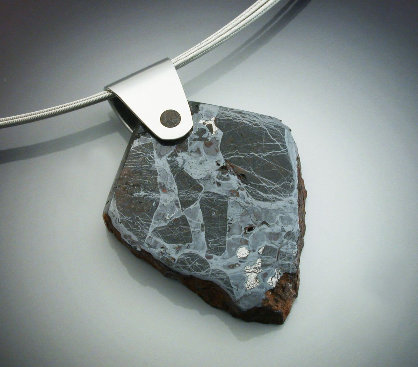 Hand crafted huckitta meteorite pendant with platinum bale by custom made huckitta meteorite pendant with platinum bale aloadofball Images