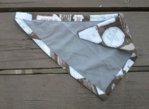 Custom Made Surfs Up Bibdana, Bandana Bib For Baby In Brown Surf Print