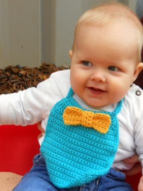 Custom Made Baby Boy Bow Tie Bib In Turquoise And Yellow
