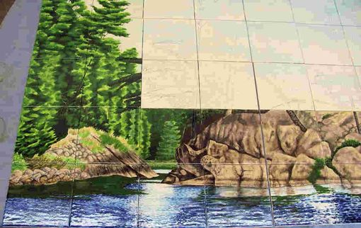 Custom Made Hand Painted Tile Mural: Canadian Wilderness Step 2