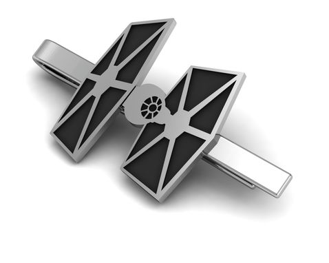 Custom Made Tie Fighter Tie Clip In Sterling Silver