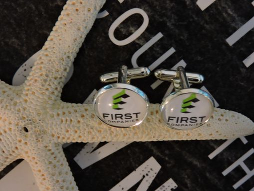 Custom Made Custom Pair Of 16mm Sterling Silver Plated Glass Bezel Cufflinks