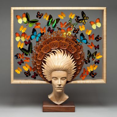 "Custom Made Free-Standing Wood Sculpture ""Beautiful Mind"""