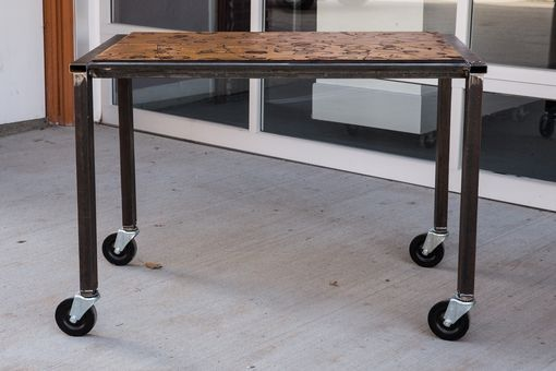 Custom Made Alistair Tuton Phtotography Rolling Table Steel And Wood