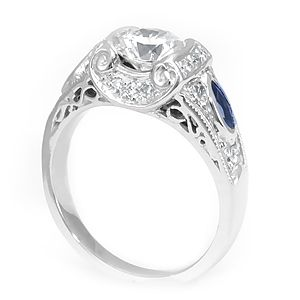Custom Made Sapphire Diamond Engagement Ring In 18k White Gold, Proposal Ring, Ladies Ring