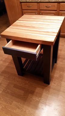 Custom Made Knotty Alder Island With Butcher Block Top
