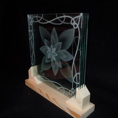 Hand Crafted Layered Stacked Glass Lotus Flower 3d Etching