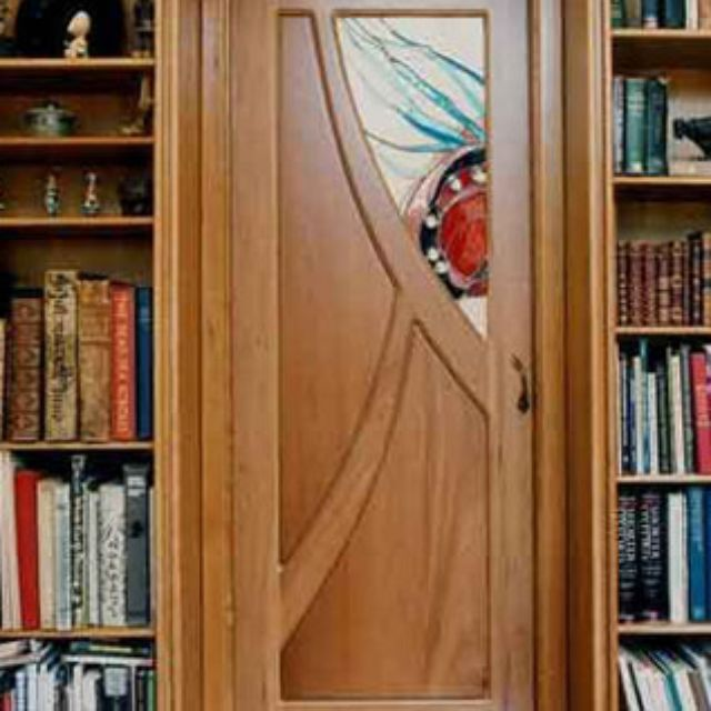 Custom Made Cherry And Stained Glass Pocket Doors By Mendocino Doors