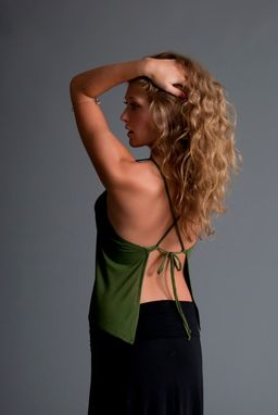 Custom Made Boho Handkerchief Backless Spaghetti Strap Top - Olive, Black, Coral Bamboo Jersey And Ivory Jersey