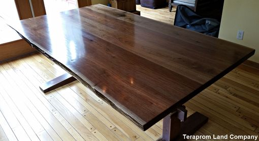 Custom Made Live-Edge Walnut Trestle Dining Table