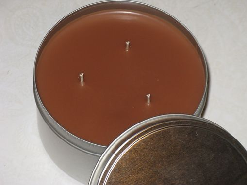 Custom Made Soy Candle Tin, Cappuccino Candle, Brown, Three Wicks, 16 Ounce Tin With Lid