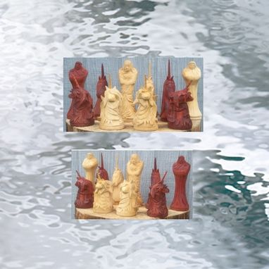 Custom Made Carved Padauk And Boxwood Chess Pieces