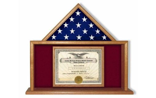 Custom Made Usmc Flag And Certificate Display Case, Usmc Flag Frame