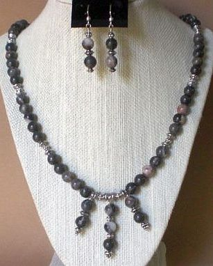 Custom Made Natural Gray Jasper-Beautiful Shades Of Grays-Necklace Set