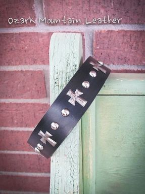 Custom Made Custom Black Leather Dog Collar With Cross Conchos