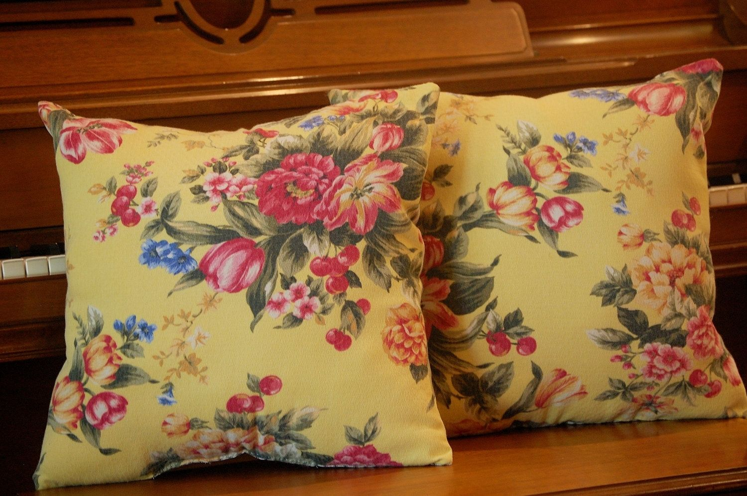 Hand Crafted Vintage Floral Barkcloth Yellow With Black