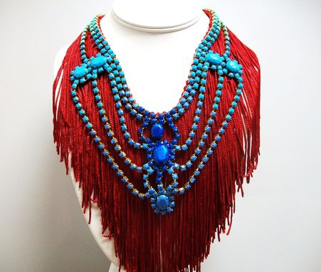 "Custom Made Red Fringe Necklace ""Royal''"