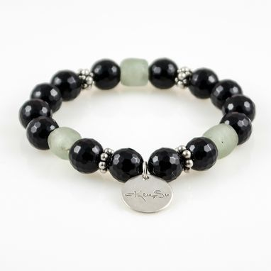 Custom Made Bracelet Muksha Black Onyx With Green Sea Glass And Sterling Silver Beads