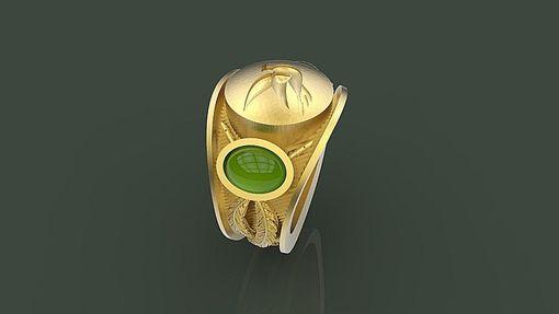 Custom Made Signet Ring With Two Emeralds