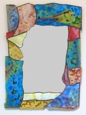 Custom Made Contemporary Stained Glass Border Mirror