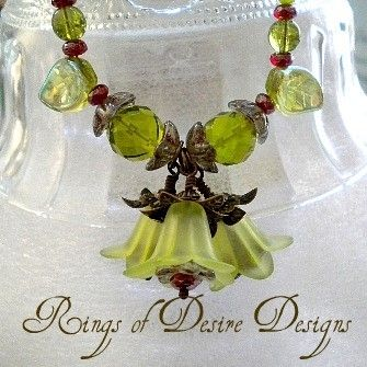 Custom Made Peridot Green And Iced Cranberry Red Flower Garden Necklace
