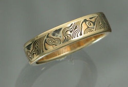 22k Yellow Gold Mokume Gane Mens Wedding Band