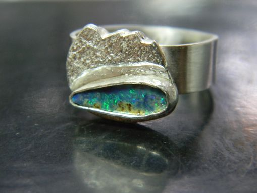 Custom Made Opal Ring With Surfer's Wave