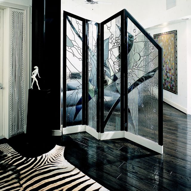 Hand Made Contemporary Folding Divider Screen In Stained Glass by