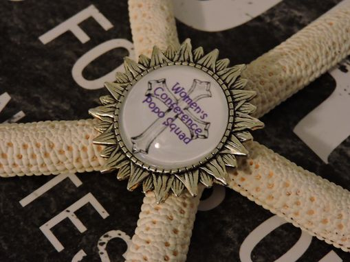 Custom Made Custom Silver Sunflower Glass Bezel Brooch