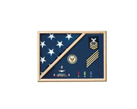Custom Made 5 X 9.5 Flag Memorial Case - Military Uniform Fabric