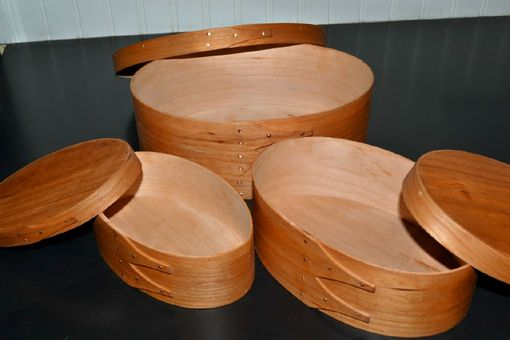 Custom Made Set Of Three Nesting Shaker Oval Boxes In Cherry Wood