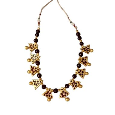 Custom Made Gold And Maroon Triangle Beads Terracotta Necklace