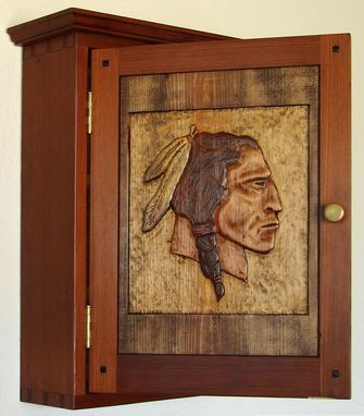 Custom Made Carved Indianhead Wall Cabinet