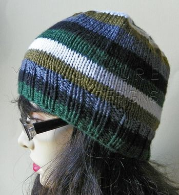 Custom Made The Striped Beanie - In Luxurious Silk And Merino Wool