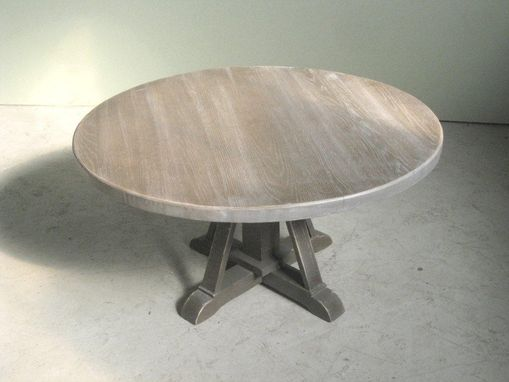 Custom Made Reclaimed Old Oak Coffee Table With Pedestal Base