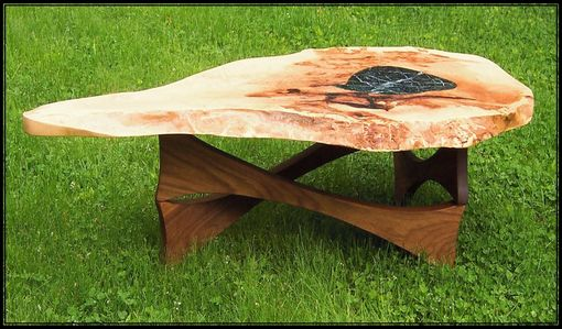 Custom Made Cherry Burl Coffee Table With Marble Inlay