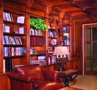 Custom Made Cherry Bookcase And Box Beam Ceiling In Granite Bay, California