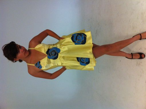 Custom Made Yellow Satin Dress With Blue Flowers