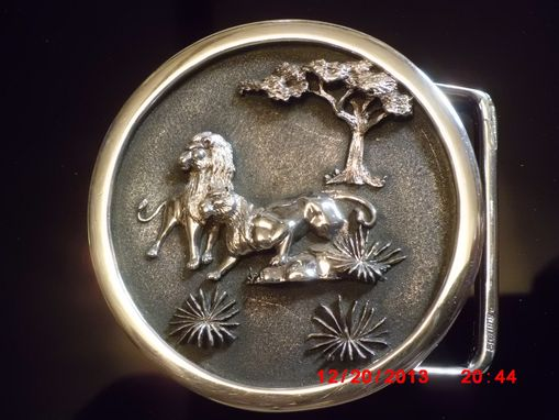 Custom Made Sterling-Silver Handmade / 3-D Hand-Carved Lion-Buckle