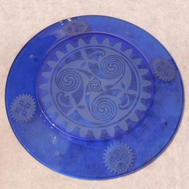 Custom Made Celtic Knotwork Crossed With Steampunk - Blue Etched Glass Art Plate