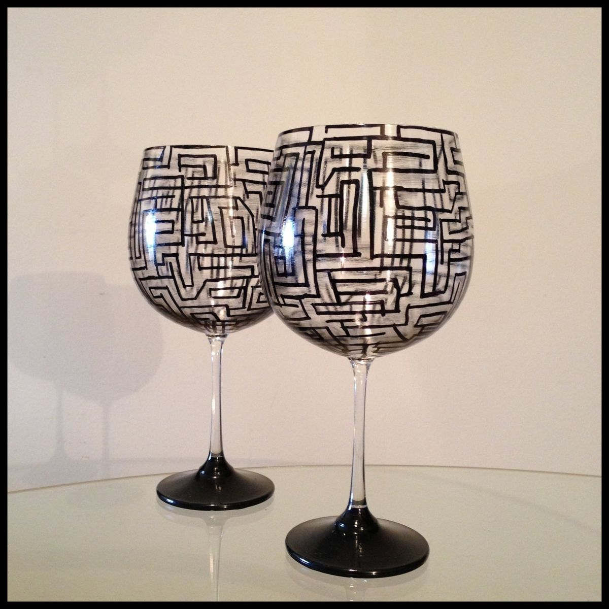 Hand made hand painted wine glasses abstract geometric for What paint do you use to paint wine glasses