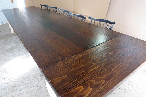 Custom Made 12' Pine Farm Table With Crackle Finish