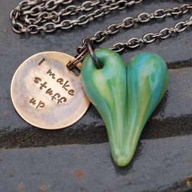 Custom Made Glass Heart Pendant Necklace Boro Lampwork Jewelry Handstamped Brass Tag, Green - I Make Stuff Up