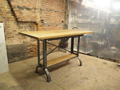 Custom Made Stand Up Industrial Drafting Table With Oak Top