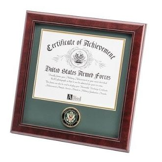 Custom Made U.S. Army Medallion Certificate Frame