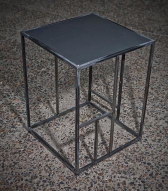 Custom Made Black Recycled Metal Side Table