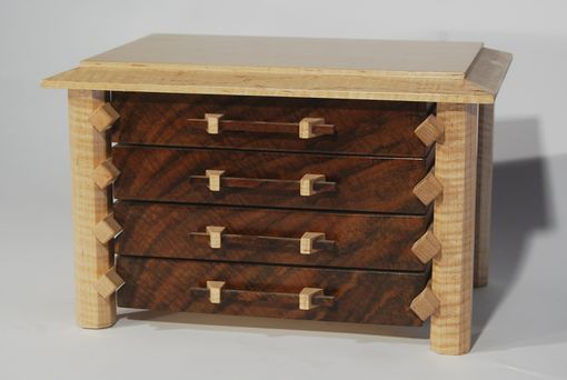 Custom Made Jewelry Box In Claro Walnut And Curly Maple Pagoda Style